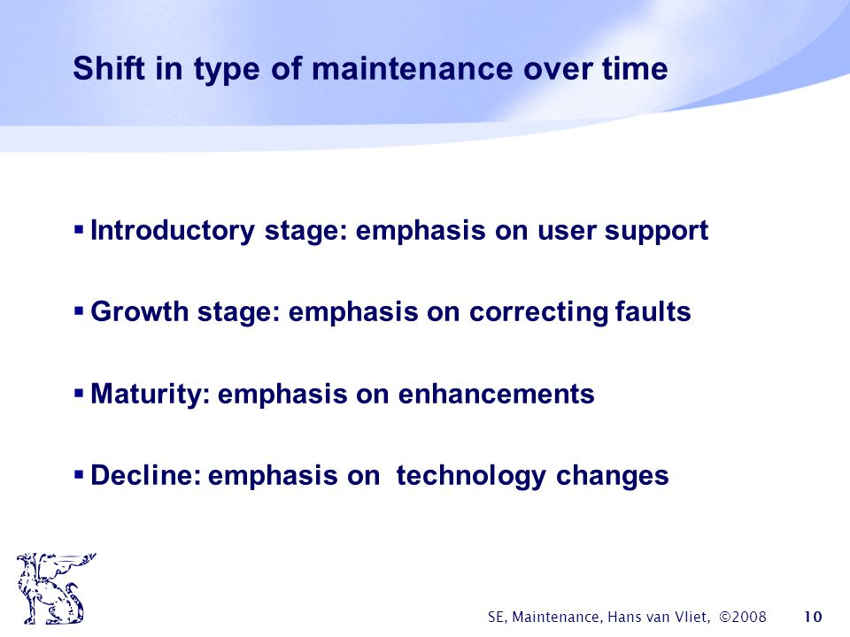 Shift in type of maintenance over time