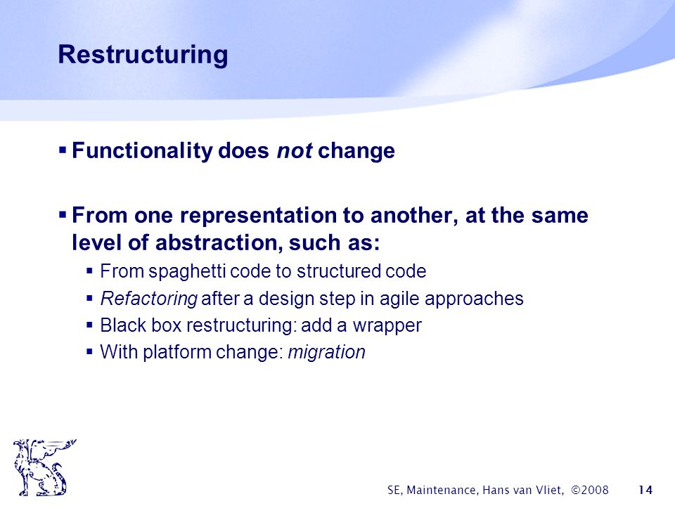 Restructuring Functionality does not change