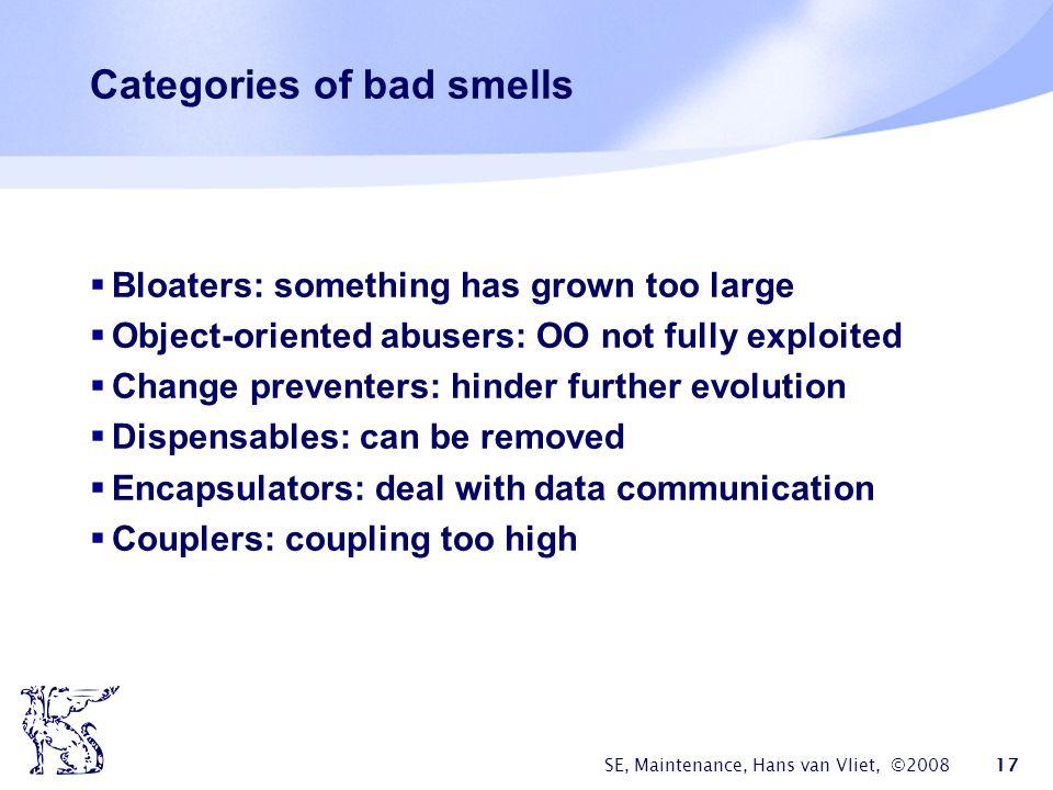 Categories of bad smells