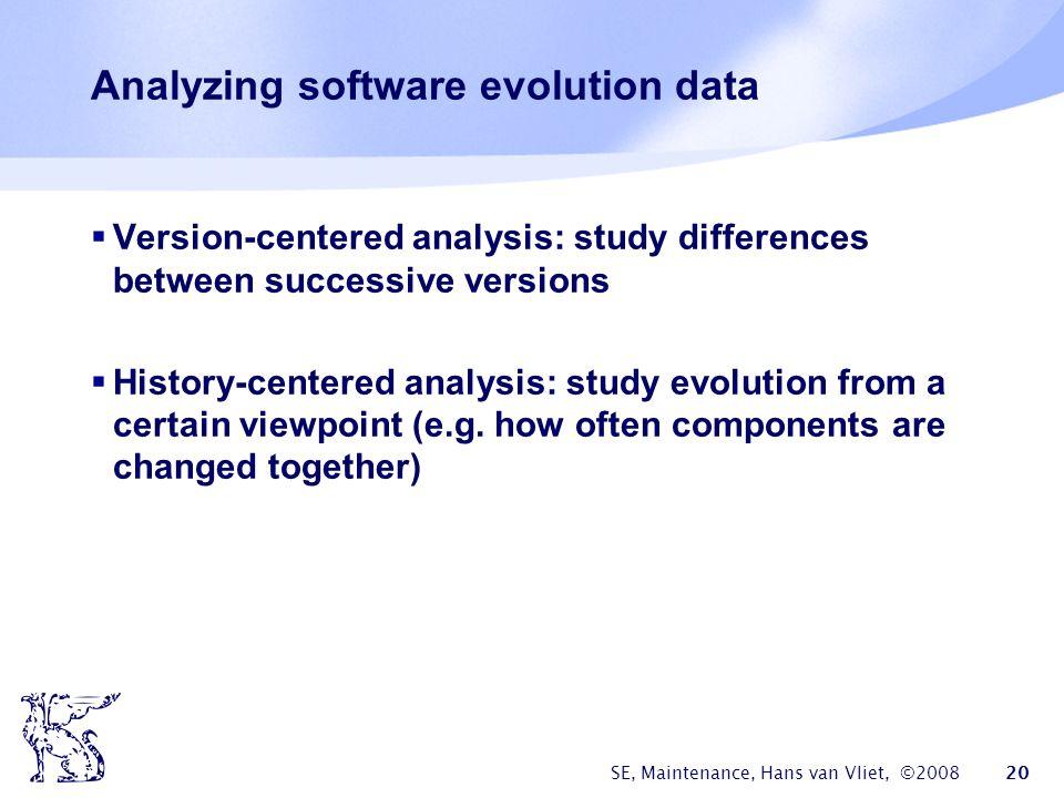 Analyzing software evolution data