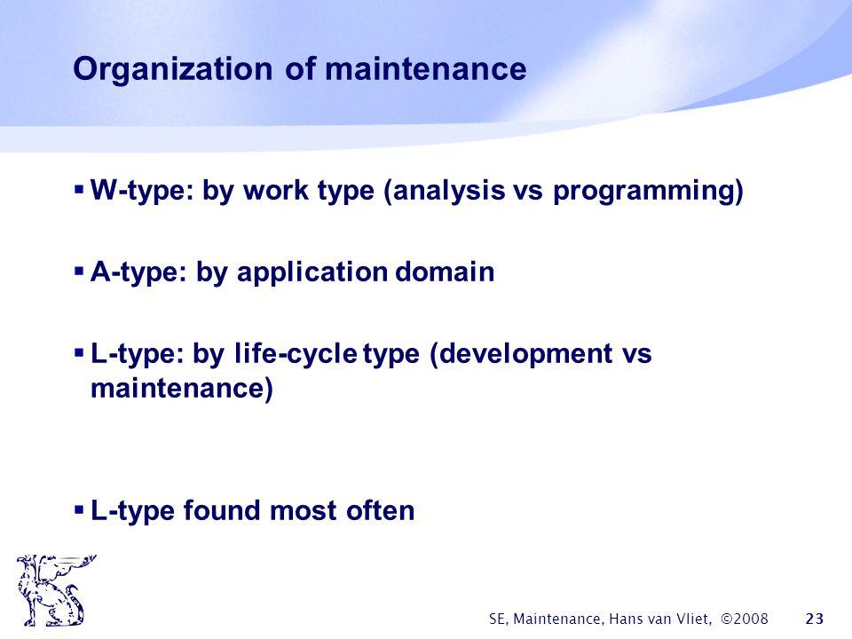 Organization of maintenance