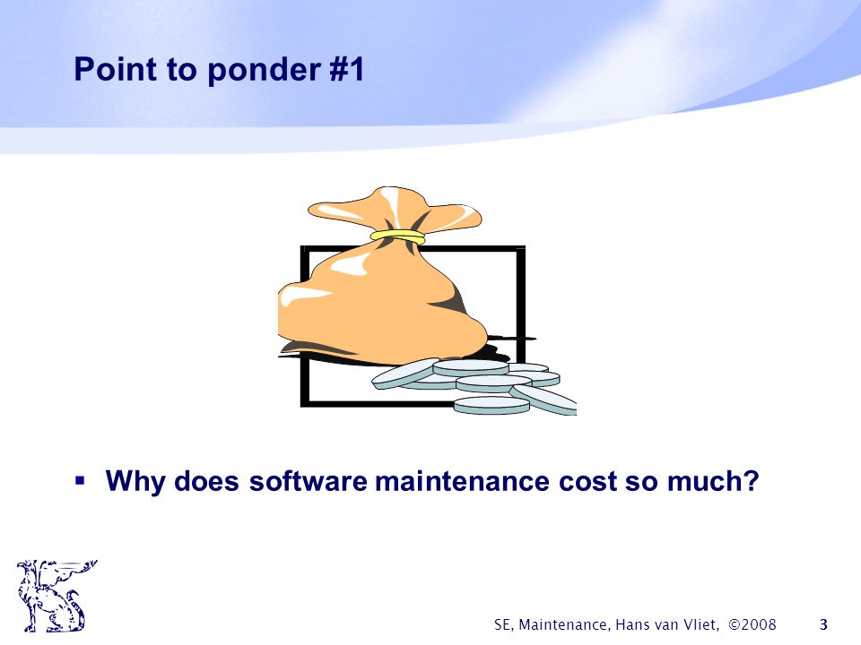 Point to ponder #1 Why does software maintenance cost so much