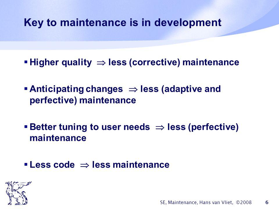 Key to maintenance is in development