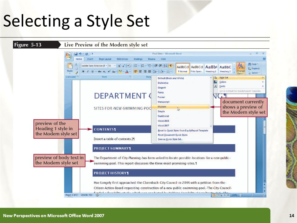 Selecting a Style Set New Perspectives on Microsoft Office Word 2007