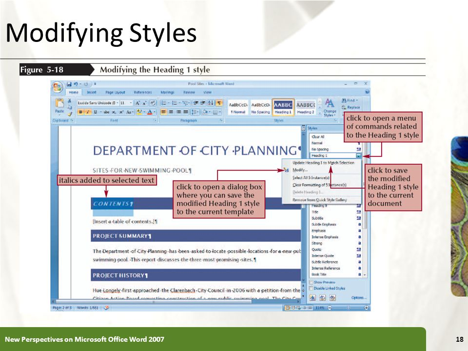 Modifying Styles New Perspectives on Microsoft Office Word 2007