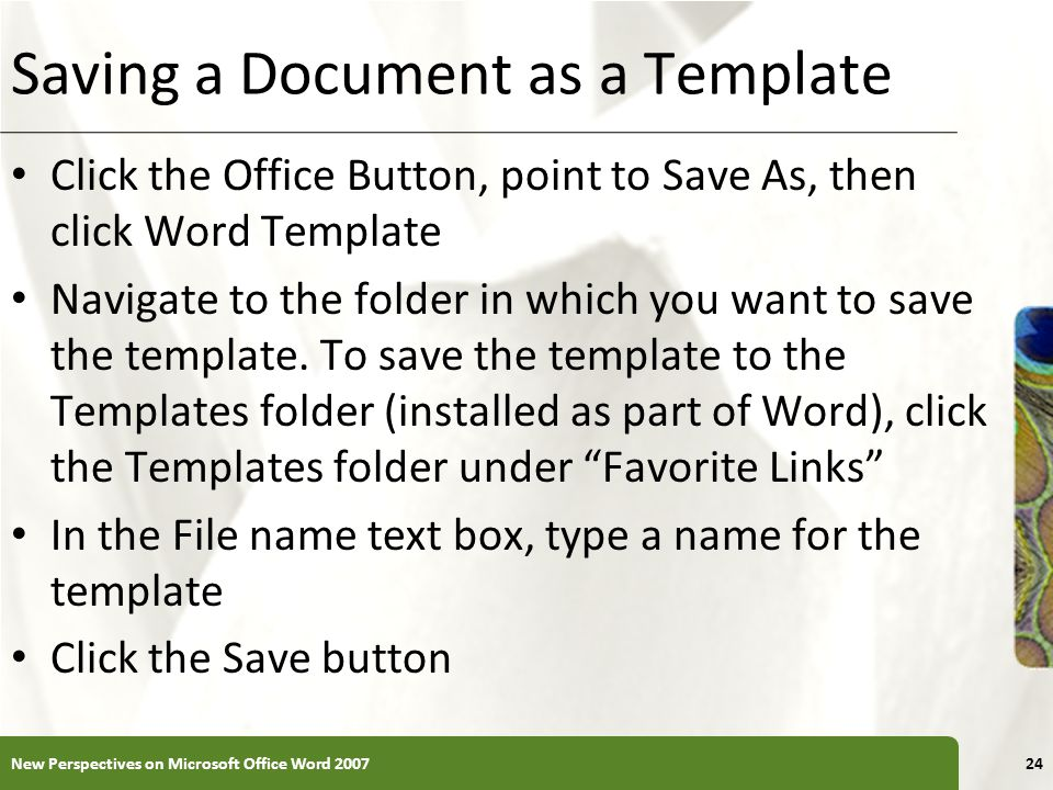 Saving a Document as a Template