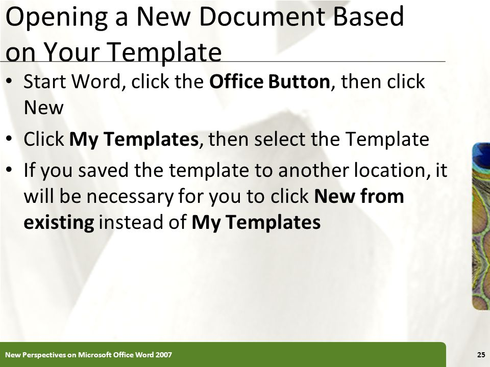 Opening a New Document Based on Your Template