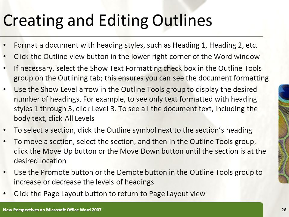 Creating and Editing Outlines