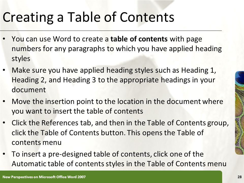 Creating a Table of Contents
