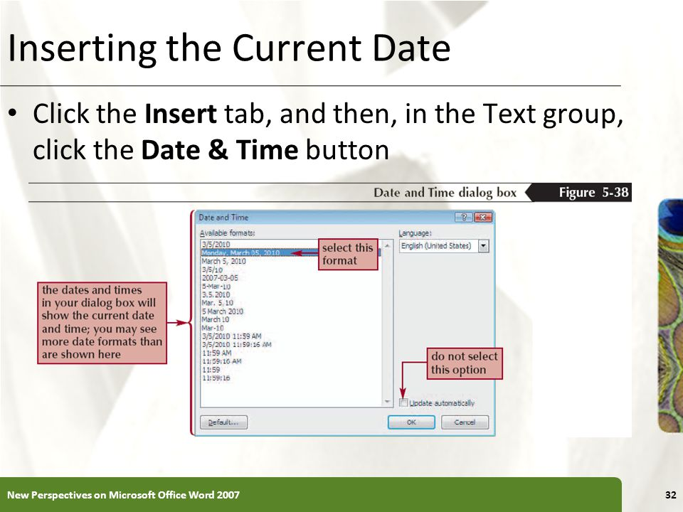 Inserting the Current Date