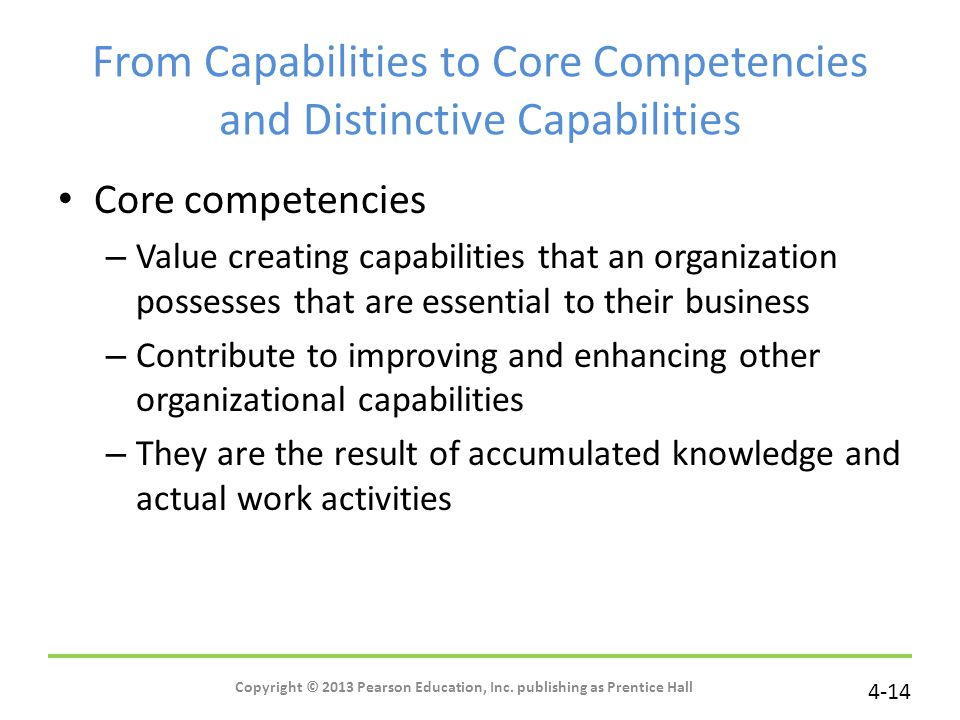 From Capabilities to Core Competencies and Distinctive Capabilities