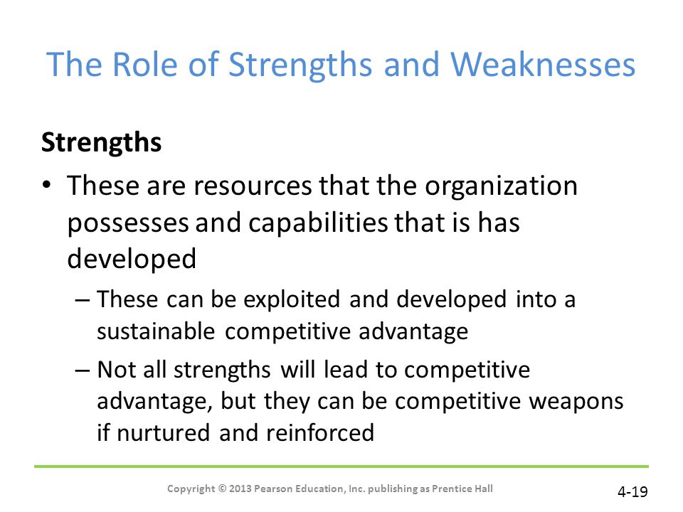 The Role of Strengths and Weaknesses