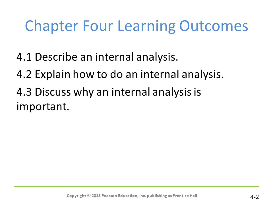 Chapter Four Learning Outcomes