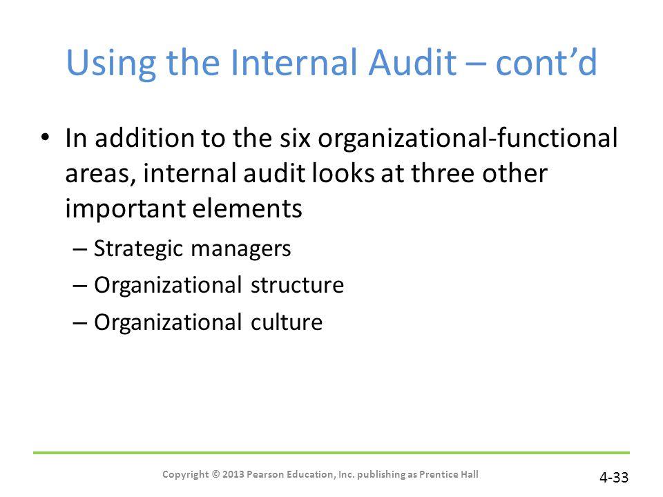Using the Internal Audit – cont'd