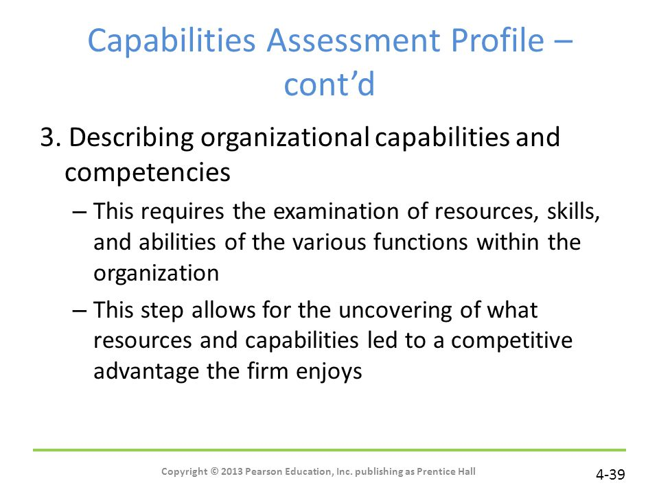 Capabilities Assessment Profile – cont'd