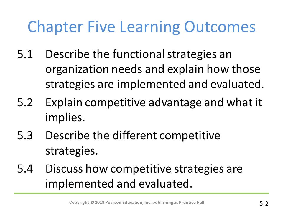Chapter Five Learning Outcomes