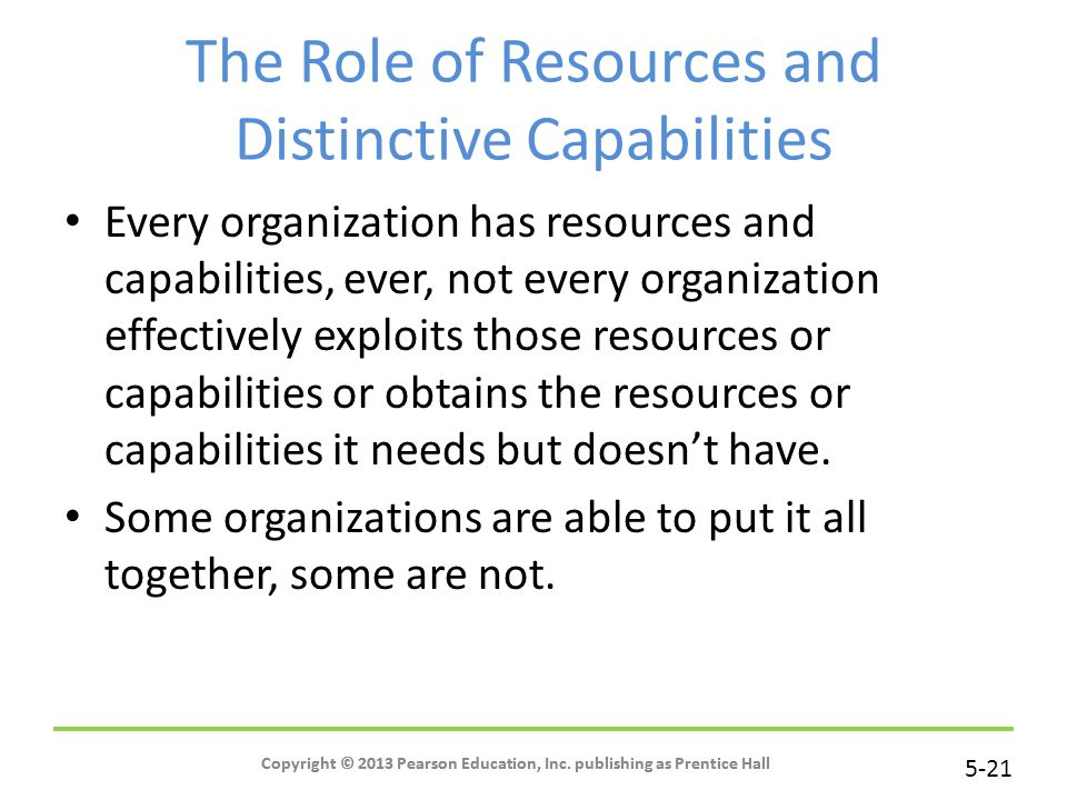 The Role of Resources and Distinctive Capabilities