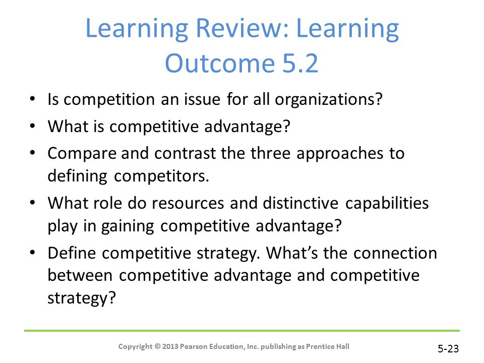 Learning Review: Learning Outcome 5.2