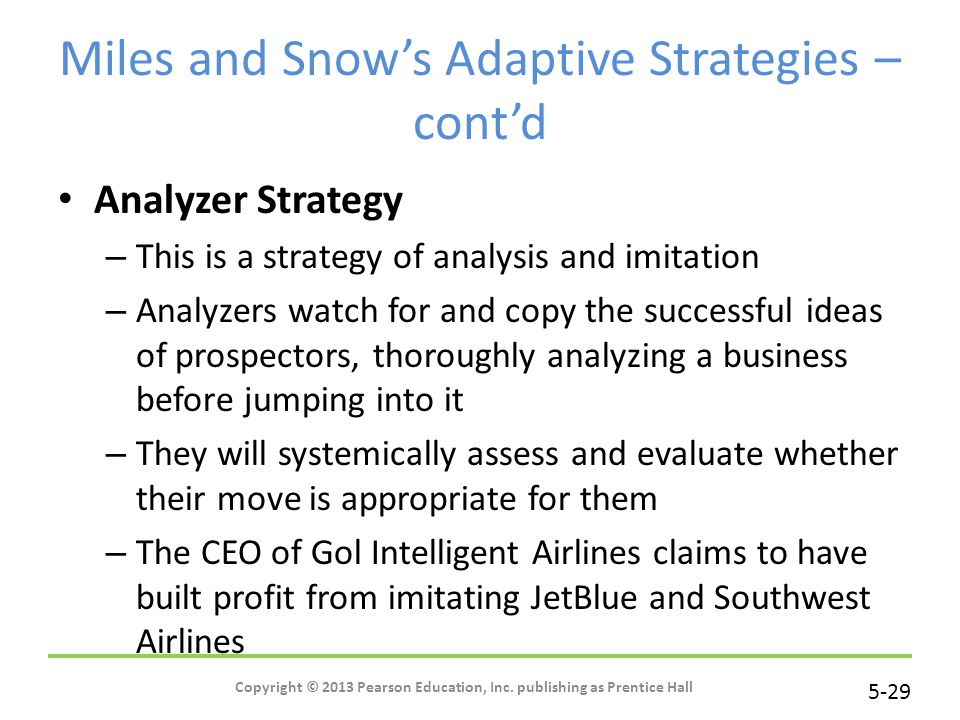 Miles and Snow's Adaptive Strategies – cont'd