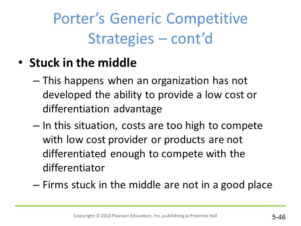 Porter's Generic Competitive Strategies – cont'd
