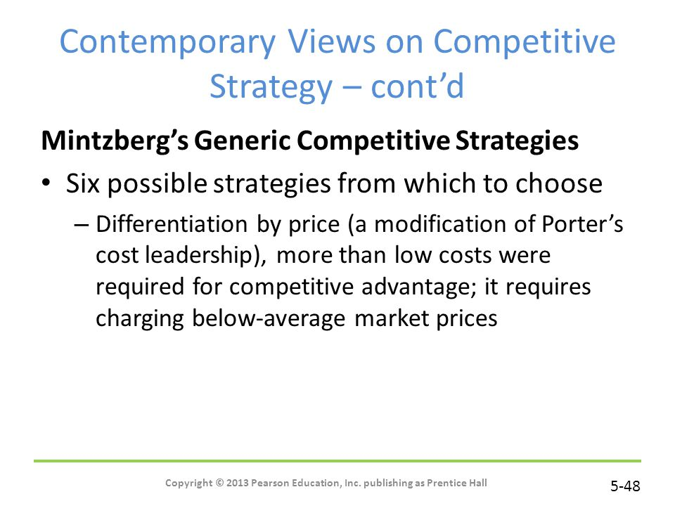 Contemporary Views on Competitive Strategy – cont'd