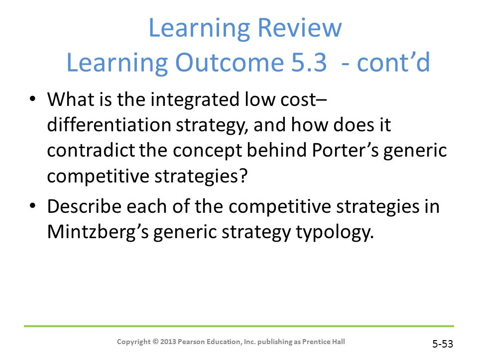 Learning Review Learning Outcome 5.3 - cont'd