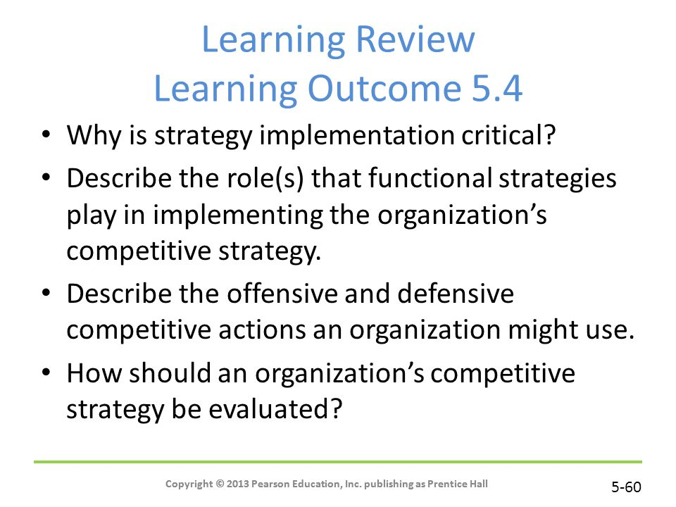 Learning Review Learning Outcome 5.4