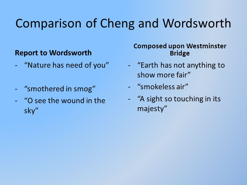 Comparison of Cheng and Wordsworth