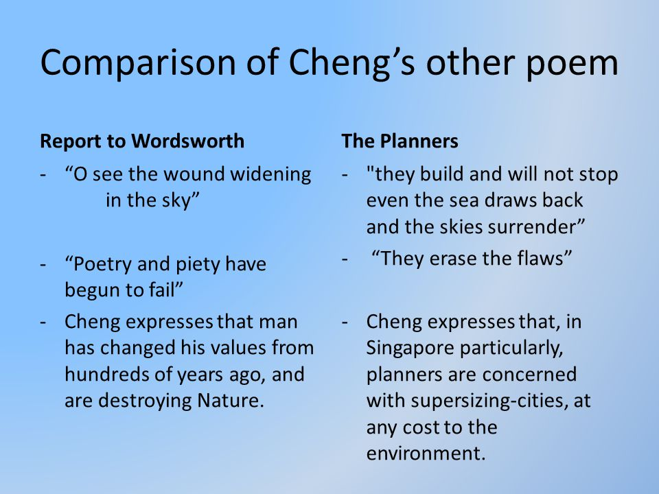 Comparison of Cheng's other poem