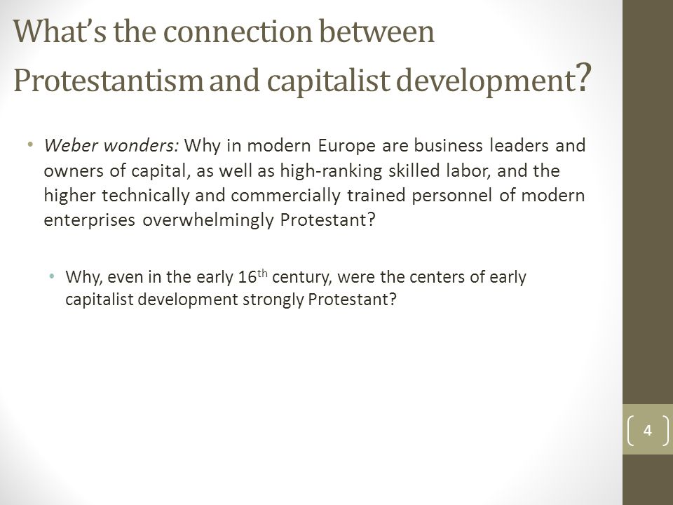 What's the connection between Protestantism and capitalist development