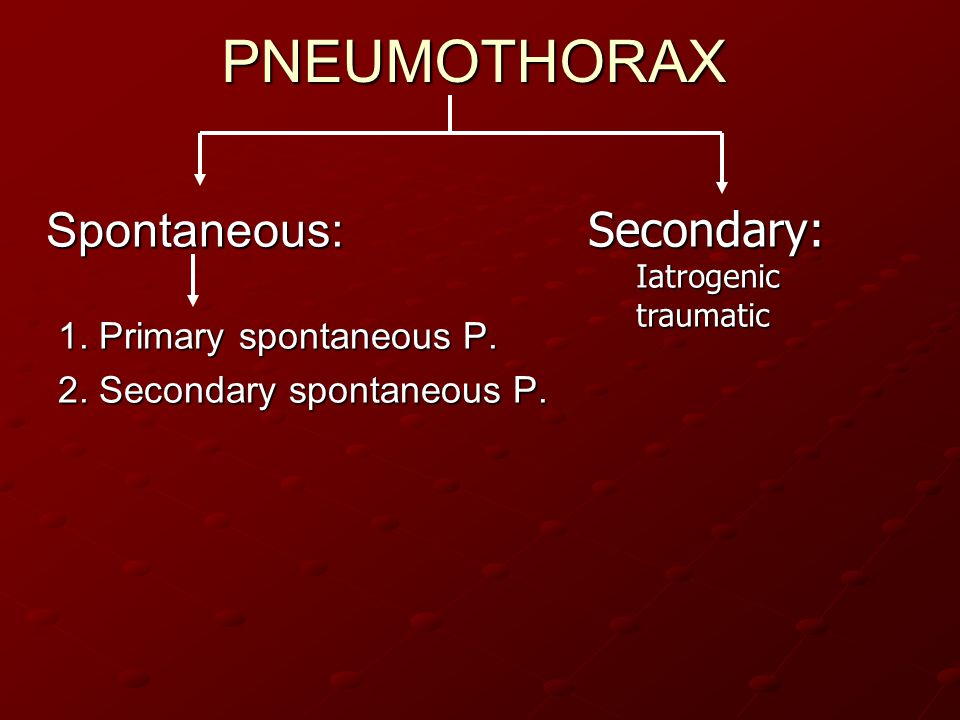 PNEUMOTHORAX Spontaneous: Secondary: 1. Primary spontaneous P.