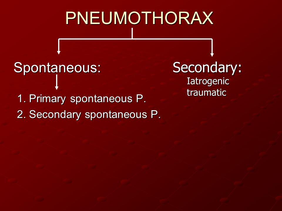 PNEUMOTHORAX Spontaneous: Secondary: 1. Primary spontaneous P.