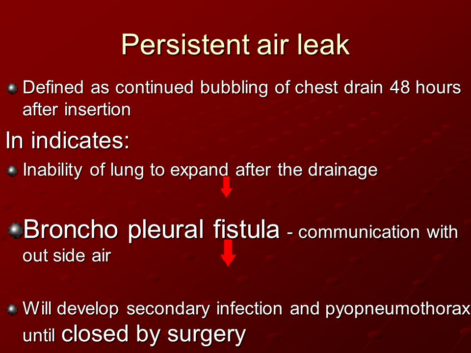 Persistent air leak Defined as continued bubbling of chest drain 48 hours after insertion. In indicates: