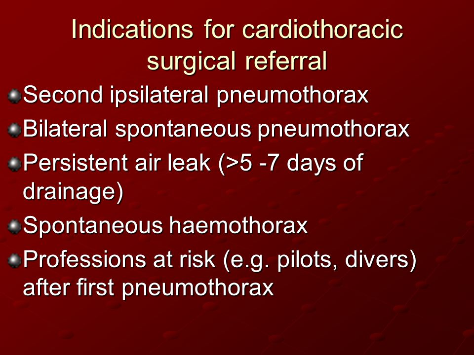 Indications for cardiothoracic surgical referral