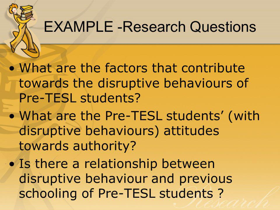 EXAMPLE -Research Questions