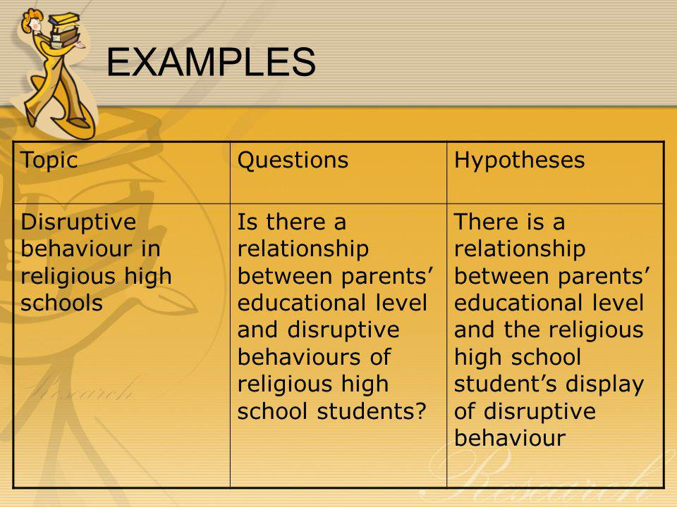EXAMPLES Topic Questions Hypotheses