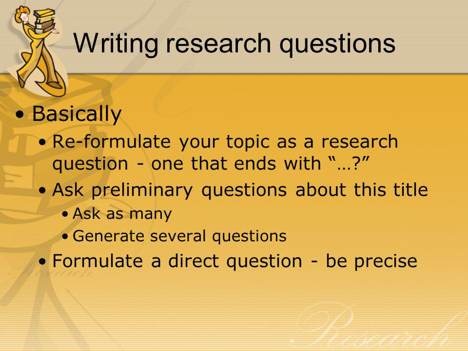 Writing research questions