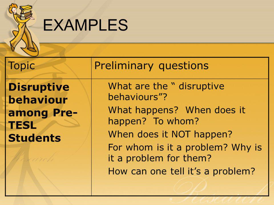 EXAMPLES Topic Preliminary questions