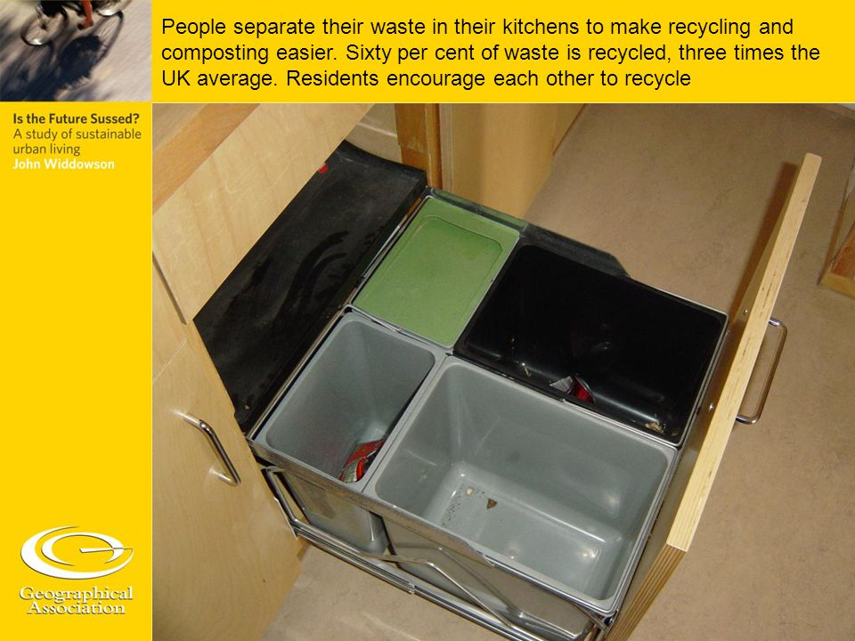 People separate their waste in their kitchens to make recycling and composting easier.