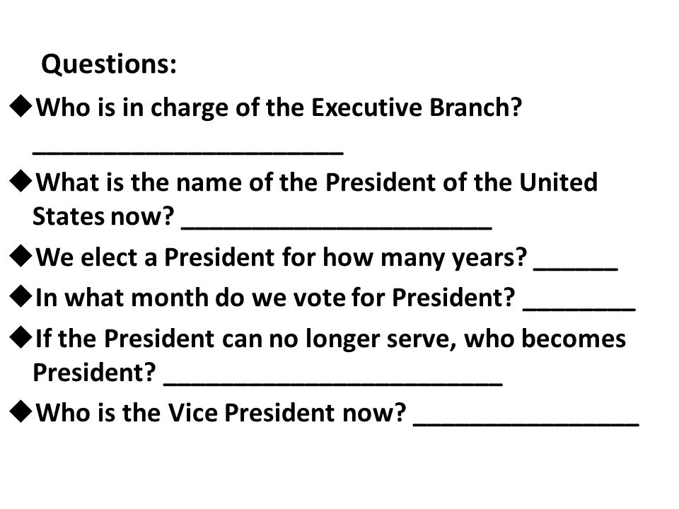 Questions: Who is in charge of the Executive Branch ______________________.