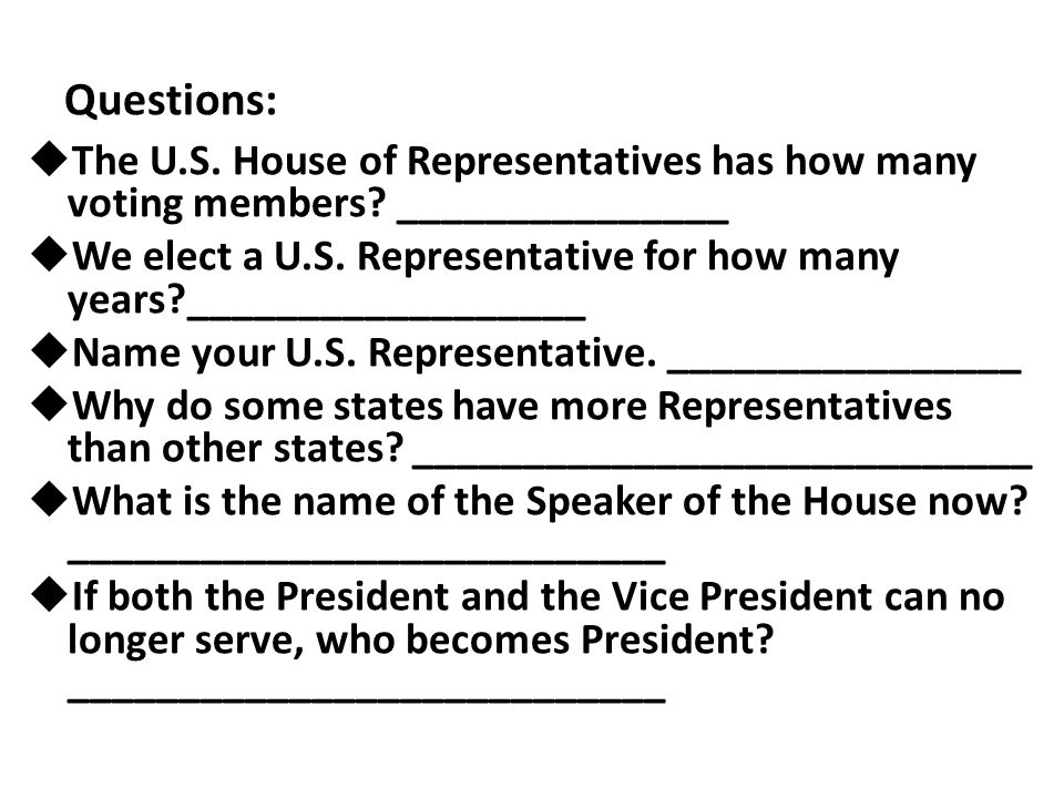 Questions: The U.S. House of Representatives has how many voting members _______________.