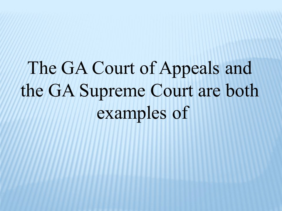 The GA Court of Appeals and the GA Supreme Court are both examples of