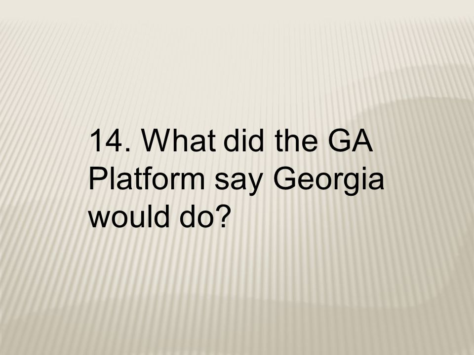 14. What did the GA Platform say Georgia would do