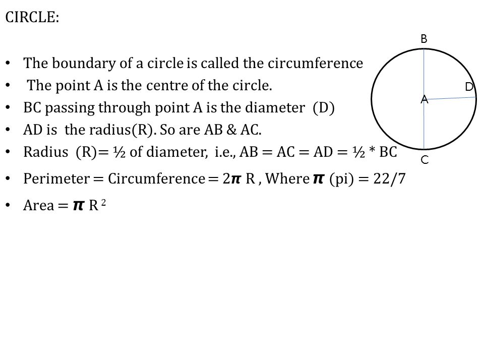 CIRCLE: The boundary of a circle is called the circumference