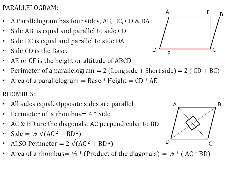 A Parallelogram has four sides, AB, BC, CD & DA