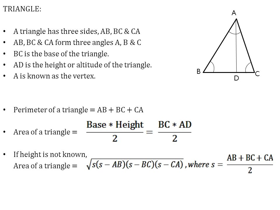 A triangle has three sides, AB, BC & CA