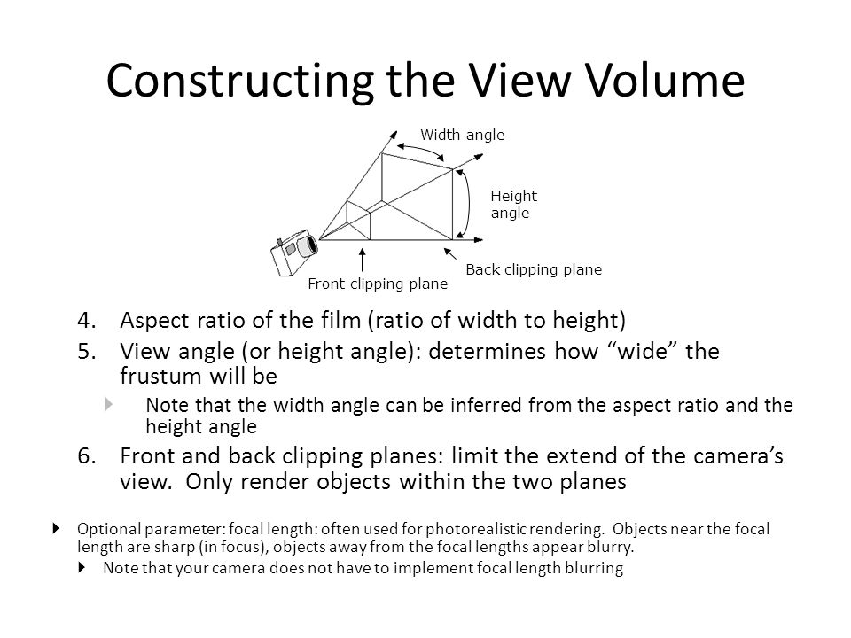 Constructing the View Volume