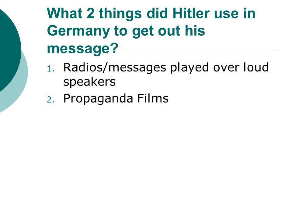 What 2 things did Hitler use in Germany to get out his message