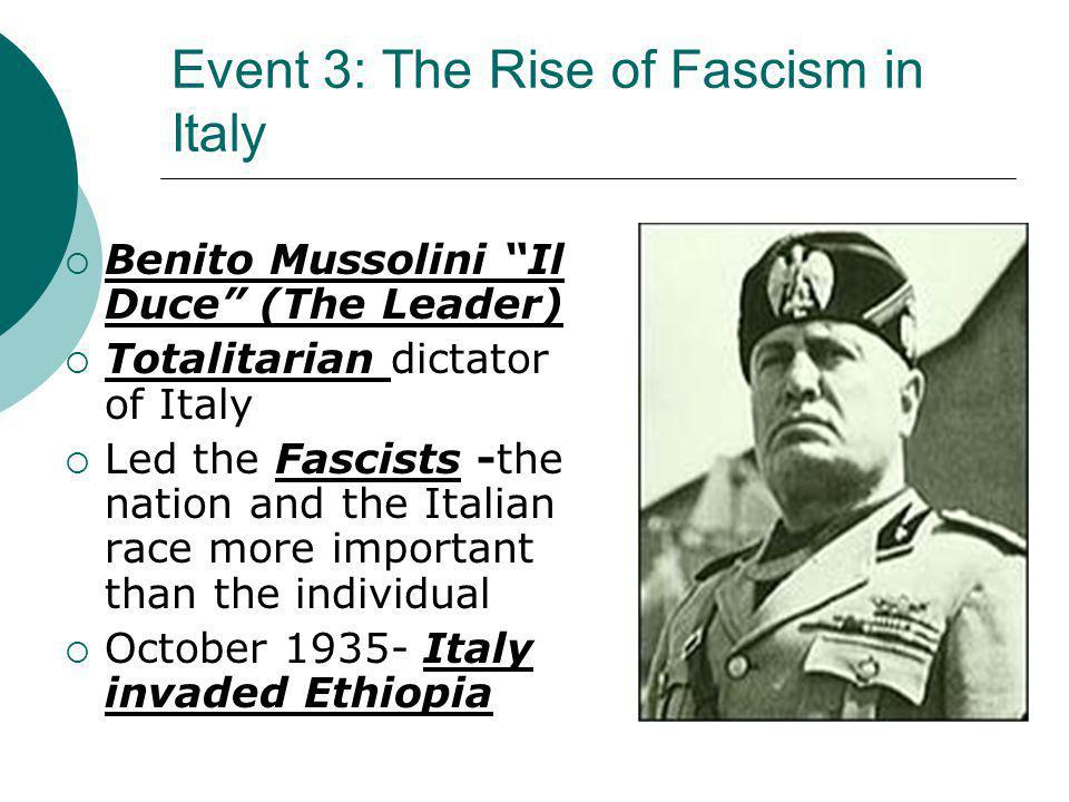 Event 3: The Rise of Fascism in Italy