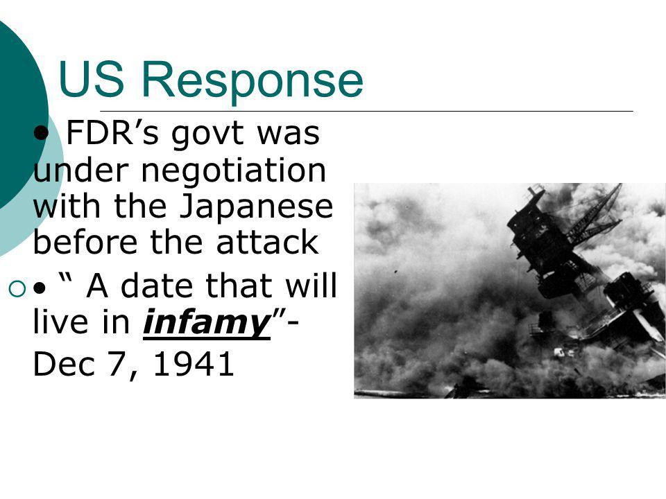 · FDR's govt was under negotiation with the Japanese before the attack